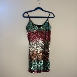 NWOT Expresses Petite Gradient Sequin Cami Dress
